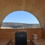 vista panoramica dall'interno della sauna